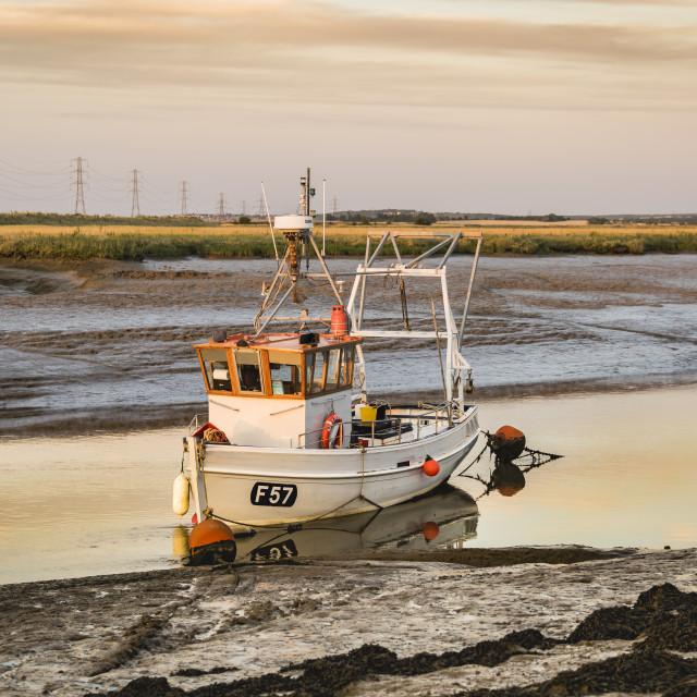 """Sunset at Oare Creek.Faversham, Kent"" stock image"