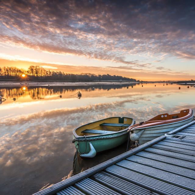 """Sunrise on the river Deben"" stock image"