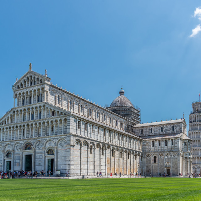 """""""Big cathedral on famous square in Pisa with Leaning Tower"""" stock image"""