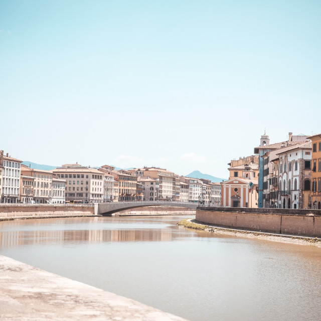 """""""River Arno which goes through famous italian town Pisa"""" stock image"""