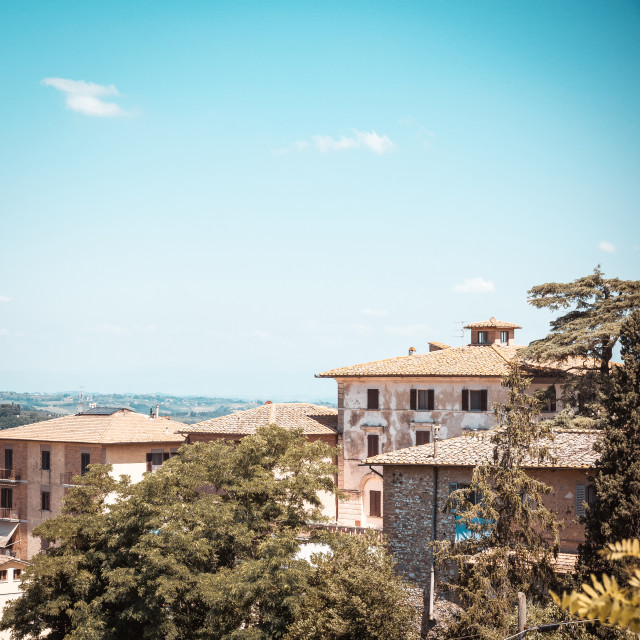 """""""View on several buildings on side of San Gimignano"""" stock image"""