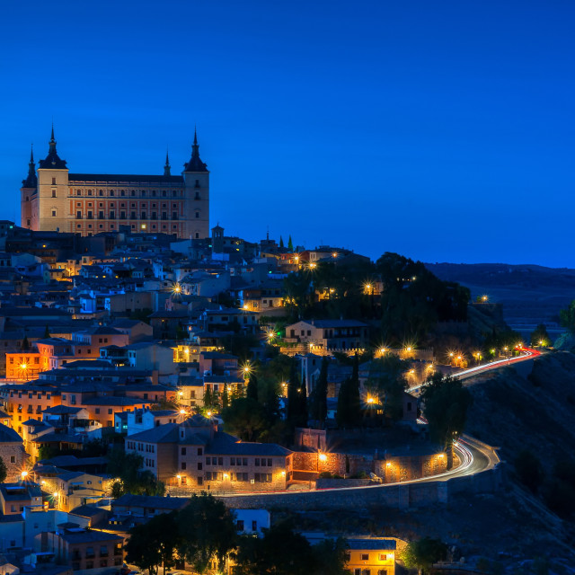 """""""Panoramic view of the medieval center of the city of Toledo."""" stock image"""