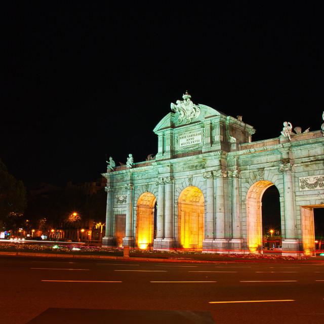 """Night view of Puerta de Alcala, Madrid, Spain."" stock image"