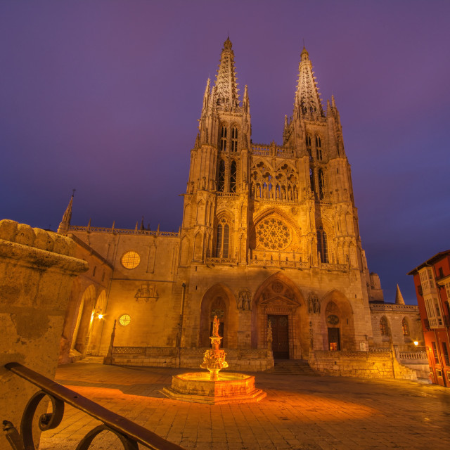 """""""Burgos Cathedral in the dusk light, Spain."""" stock image"""