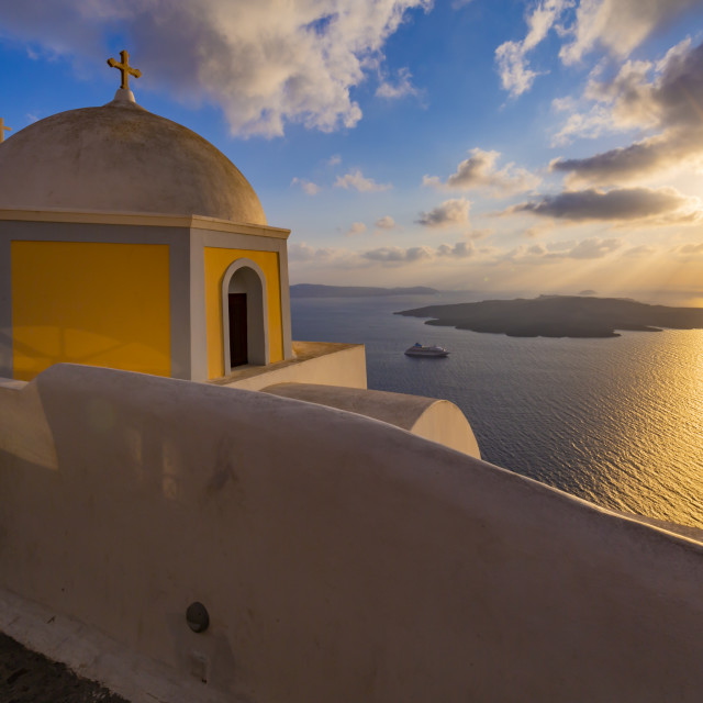 """View of Greek Church of Saint Stylianos at sunset, Firostefani, Santorini"" stock image"