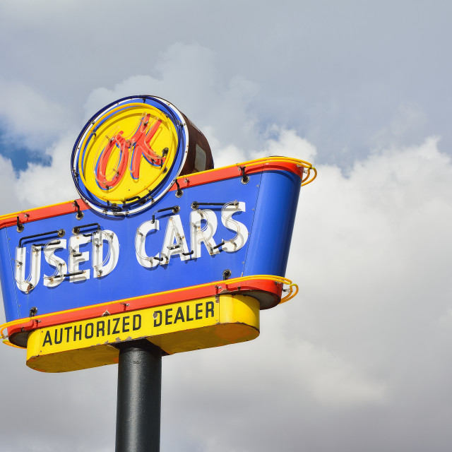 """""""OK Used Cars neon sign."""" stock image"""
