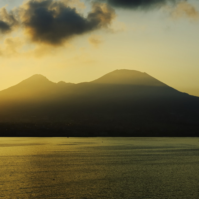 """Mount Vesuvius at sunset"" stock image"