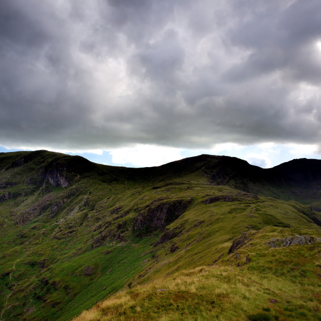 """Ridge to Hart Crag from Hartsop above How"" stock image"