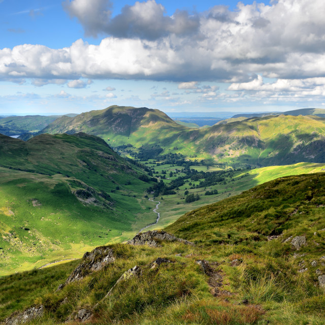 """Sunlight on the Patterdale and Harstop valleys"" stock image"