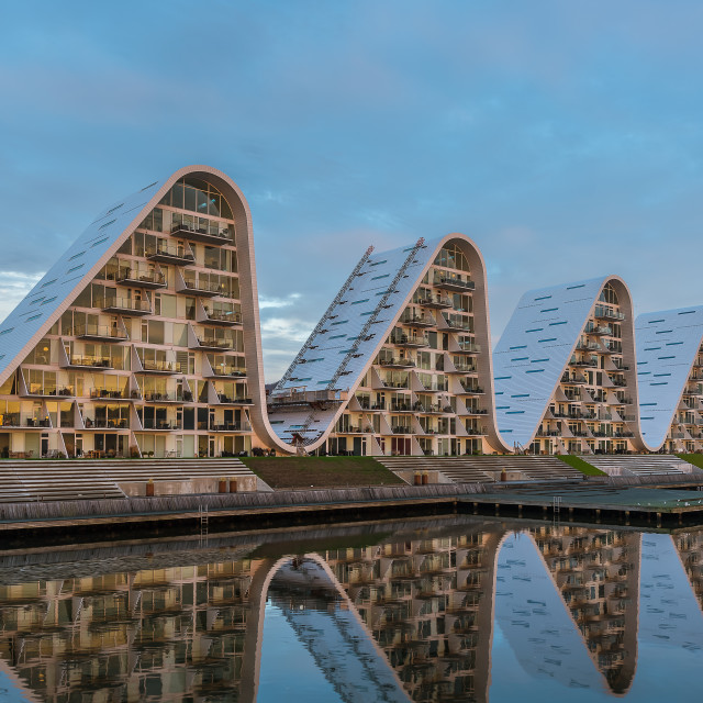 """""""Five waterfront waves in the sunrise, new house design in Vejle"""" stock image"""