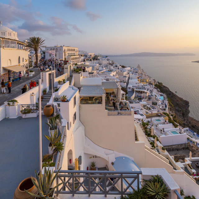 """""""View of Orthodox Metropolitan Cathedral overlooking Fira at sunset, Santorini"""" stock image"""