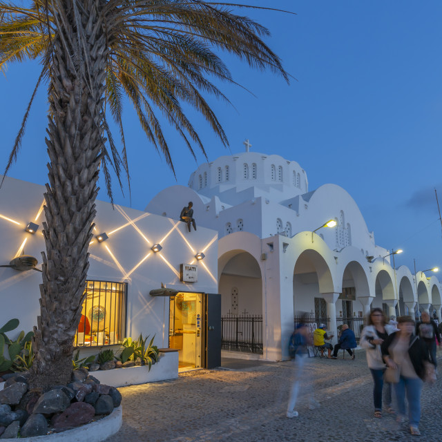 """""""View of Orthodox Metropolitan Cathedral overlooking Fira at dusk, Santorini"""" stock image"""