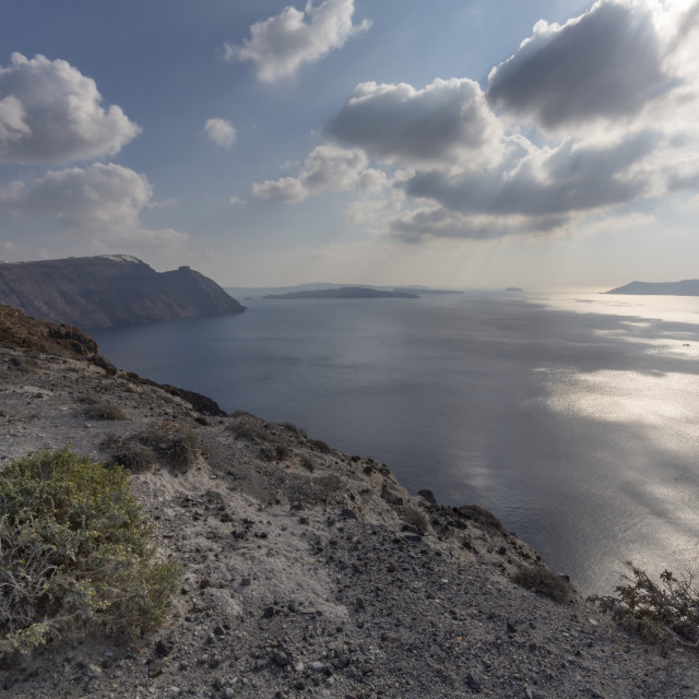 """""""View of Sanorini from viewpoint between Oia and Fira, Santorini (Thira), Cyclades Islands, Greek Islands, Greece, Europe"""" stock image"""