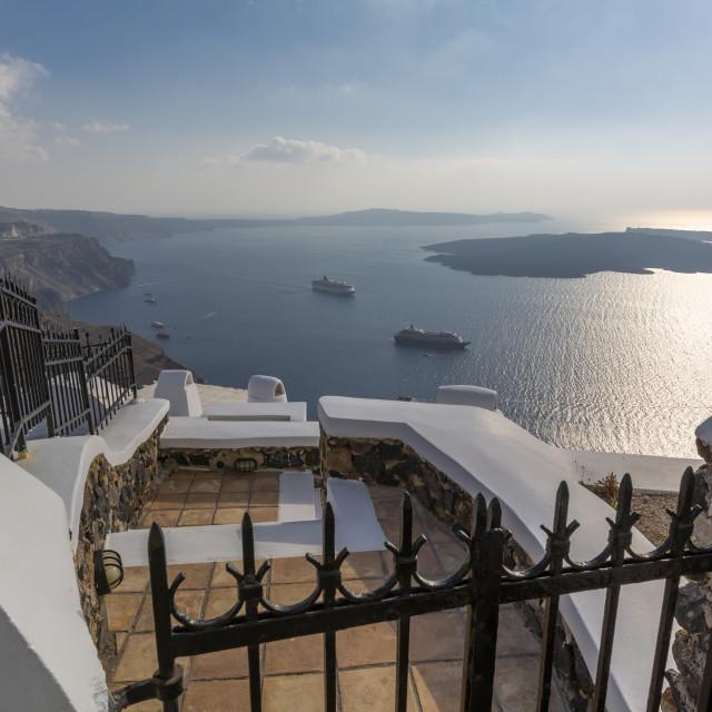"""View of white washed houses overlooking Mediteranean Sea, Fira, Firostefani, Santorini (Thira), Cyclades Islands, Greek Islands, Greece, Europe"" stock image"