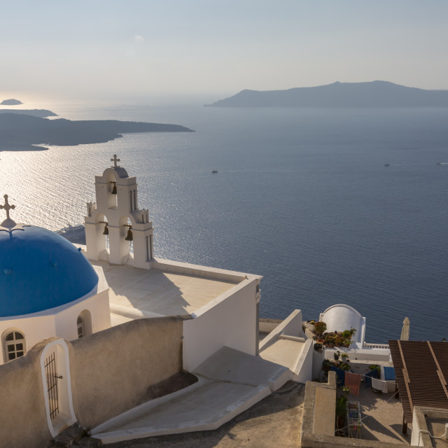 """View of blue dome and belltower of the church of St. Gerasimos, Firostefani, Fira, Santorini, Cyclades, Greek Islands, Greece, Europe"" stock image"