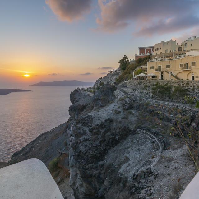 """View of Greek restaurant at sunset, Firostefani, Santorini (Thira), Cyclades Islands, Greek Islands, Greece, Europe"" stock image"