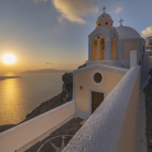 """View of Fira and Greek Church of Saint Stylianos, Firostefani, Santorini (Thira), Cyclades Islands, Greek Islands, Greece, Europe"" stock image"