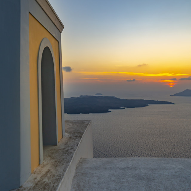 """View of Greek Church of Saint Stylianos at sunset, Firostefani, Santorini (Thira), Cyclades Islands, Greek Islands, Greece, Europe"" stock image"