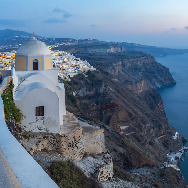 """View of Greek Church of Saint Stylianos at dusk, Firostefani, Santorini (Thira), Cyclades Islands, Greek Islands, Greece, Europe"" stock image"