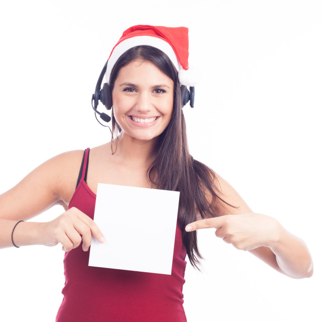 """Christmas phone operator woman showing blank signboard"" stock image"