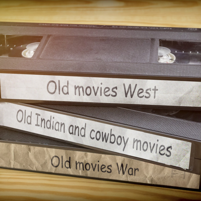 """Some old movies west, indian and war video in VHS system, conceptual image"" stock image"