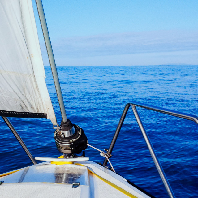"""""""calm see and beautiful seascape from a sailboat while crossing the english channel"""" stock image"""