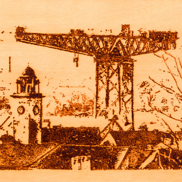 """""""A wood burning of the Clydebank Titan Crane and Town Hall"""" stock image"""