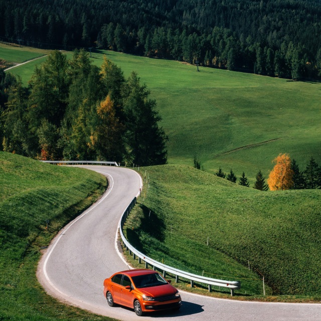 """""""Roadtrip by car on mountain road in Dolomites, Italy"""" stock image"""