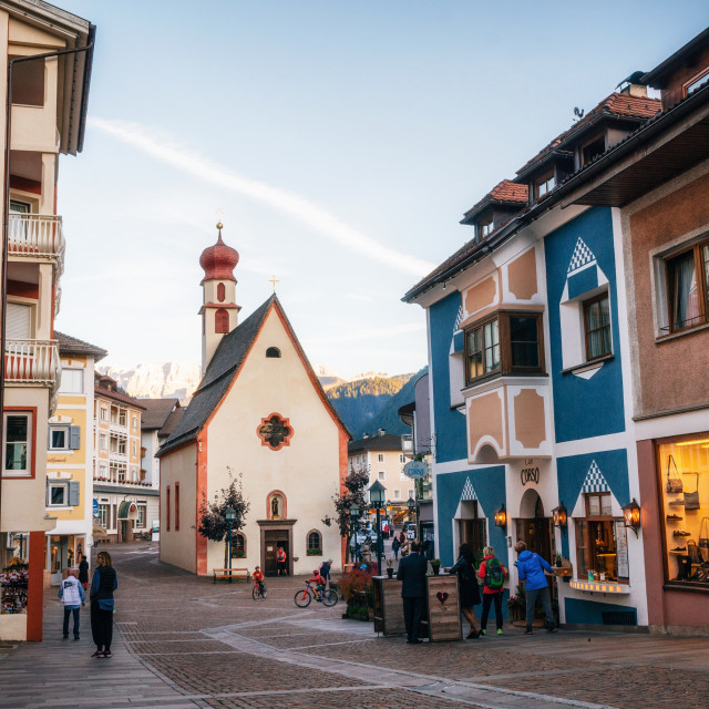 """""""Pedestrian area of Ortisei town ski resort in North of Italy."""" stock image"""
