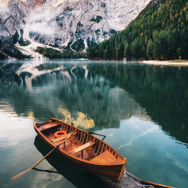 """Braies lake in Dolomites, Italy"" stock image"