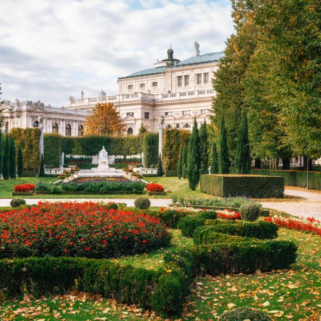 """Seniors couple walks in the Volksgarten in Vienna, Austria."" stock image"