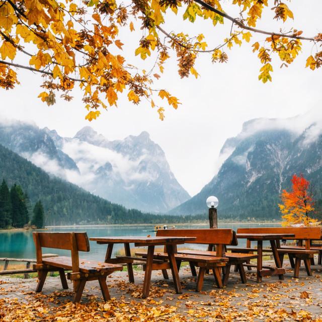 """Lake Dobbiaco in the Dolomites, Beautiful Nature Italy natural landscape Alps."" stock image"