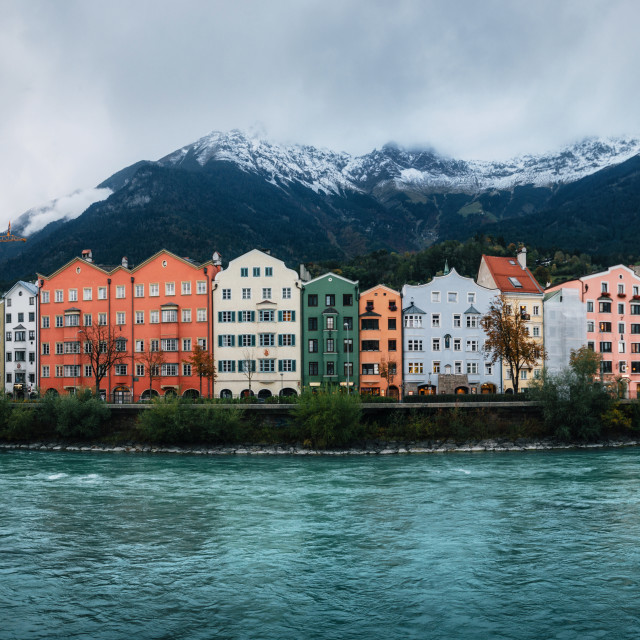 """""""Innsbruck with colorful houses, Austria"""" stock image"""