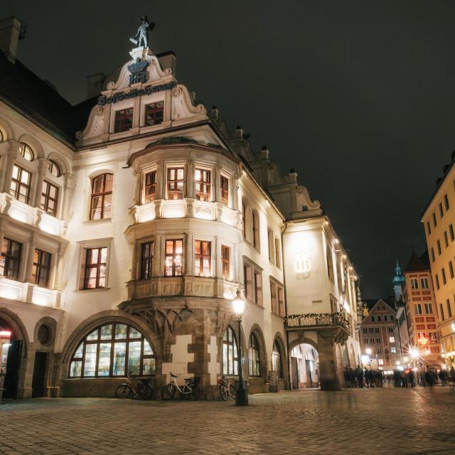 """Illuminated Hofbrauhaus at night in Munich"" stock image"