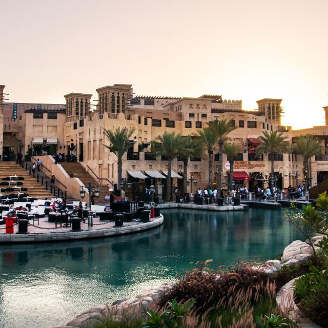 """Sunset view at Madinat Jumeirah resort and restaurants, leisure travel spot in Dubai"" stock image"