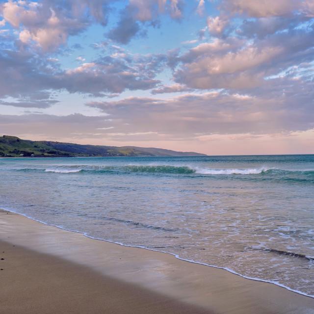 """Apollo Bay beach at sunset"" stock image"