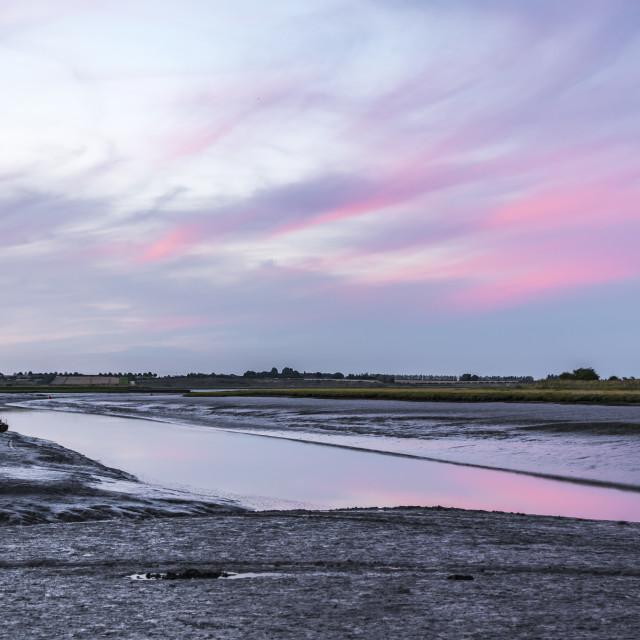 """Red sunset Oare Creek, Favershm, Kent"" stock image"