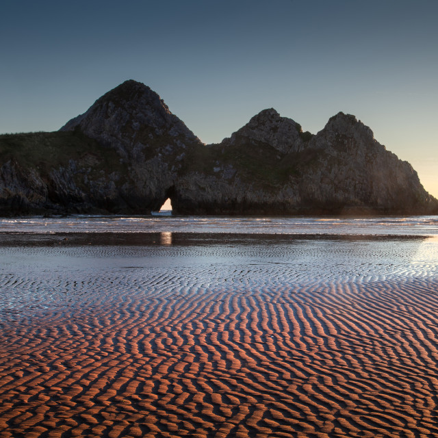 """Three Cliffs Bay Gower peninsula"" stock image"