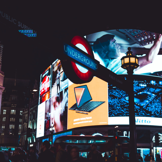 """Piccadilly Circus at night in London"" stock image"