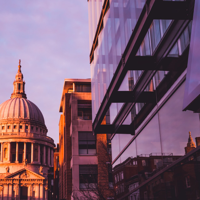 """St Pauls Cathedral on London skyline at sunset"" stock image"