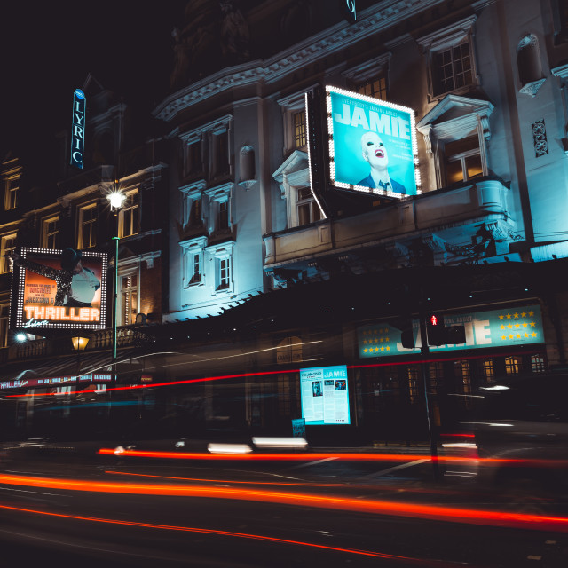 """Theatre at night on Shaftesbury Avenue in West End London"" stock image"