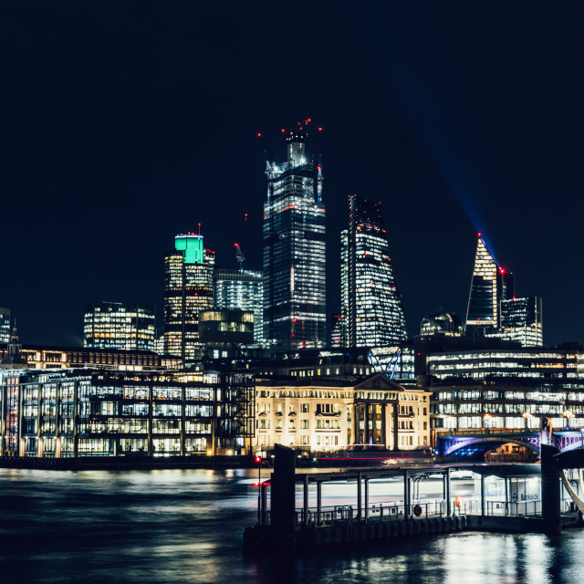 """City of London modern skyline business financial district night"" stock image"