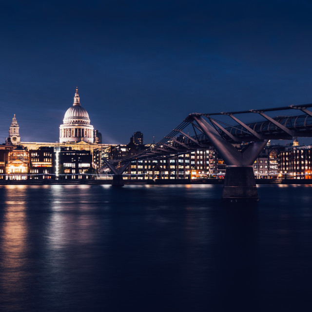 """Modern London city skyline St Pauls Cathedral and Bridge"" stock image"