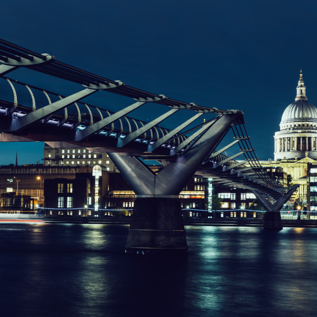 """London skyline on River Thames at night"" stock image"
