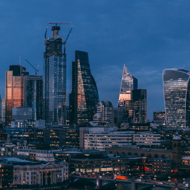 """City of London modern skyline business financial district nigh"" stock image"