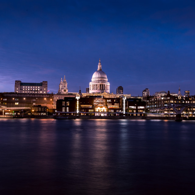 """St Pauls Cathedral River Thames reflections on London skyline"" stock image"