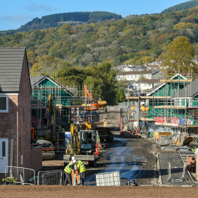 """""""Construction work on the site of new homes."""" stock image"""