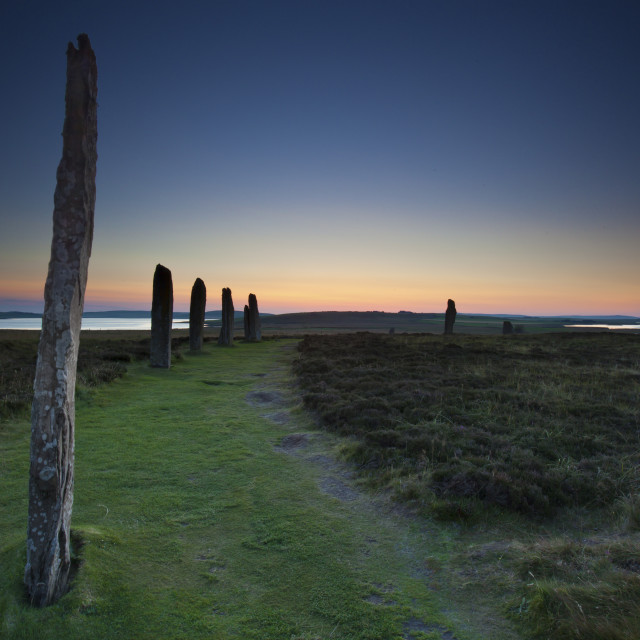 """Sunset behind the Ring of Brodgar, Orkney,Scotland"" stock image"
