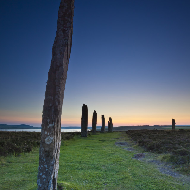 """Ring of Brodgar sunset, Orkeny, Scotland"" stock image"