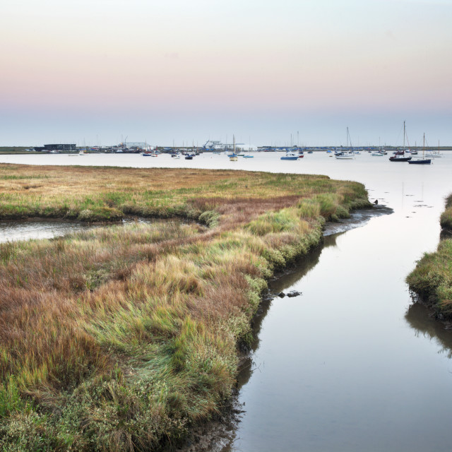 """Aldeburgh Marshes and Slaughden Quay at Dusk"" stock image"